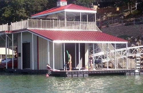 boat house on floating boat dock