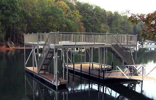 wheel rail toe rail on wahoo floating dock with upper deck