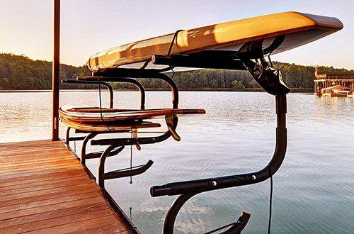 wahoo aluminum docks double kayak rack on floating dock with ipe dock decking